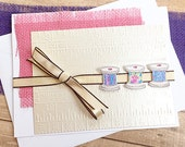 "Burlap and Spools of Thread Birthday Card 3, Sewing, Crafter, Year Older, Happy, Best Wishes, Measuring Tape, Friend, Celebrate - 5"" x 6.5"""