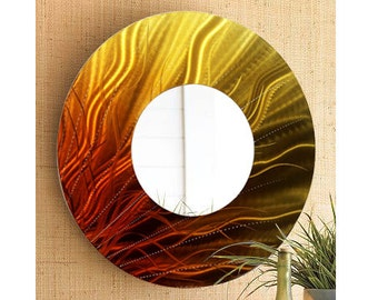 Gold & Orange Fusion Hand-painted Modern Metal Wall Mirror - Contemporary Circle Wall Accent - Abstract Hanging Mirror Art - Mirror 109