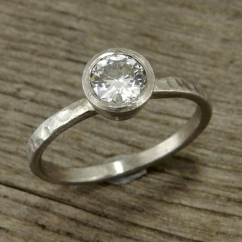 Moissanite Engagement Ring in 950 Palladium Wedding Ring