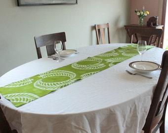 bright green organic linen tablerunner