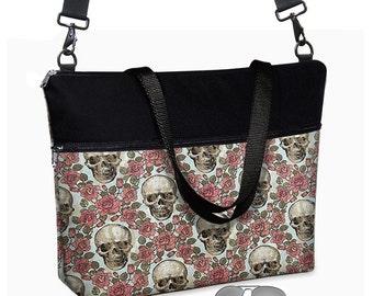 17 inch Laptop Bag avail w/ cross body strap / Skulls Laptop Tote Bag / Women's Briefcase / Skulls Roses Steampunk blue pink black    MTO
