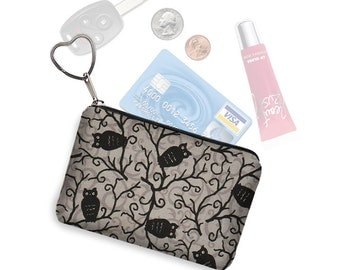 Small Zipper Pouch Coin Purse Keychain Key Fob Cute Owl Fabric  Business Card Holder Purse Organizer black gray grey Handmade In USA RTS