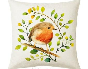 Robin Bird Pillow Cover, Pillow Cover 18 x 18, Throw Pillow, Pillow Cover, Handmade Decorative Pillow, Unique Throw Pillow Case