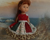 """Hearts4Hearts Corolle Les Cheries 13"""" Doll Dress Christmas Patchwork Medley OOAK"""