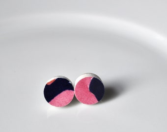Simple Circle Broken China Stud Earrings - Pink and Blue