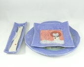 Place Setting, Ceramic dish set, bread plate, salad platem tapas or sushi tray,side dish, Made in Colorado, Fiesta Colors
