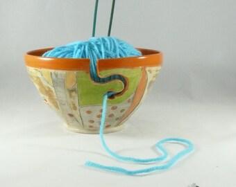 Handmade Ceramic Yarn Knitting Bowl with Owl , Pottery Yarn Bowl, Yarn Organizer, Handmade in colorado 294