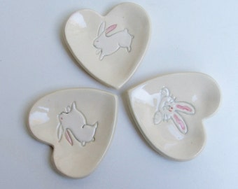 Ring Dish / Jewelry Dish, Set of Three Ceramic Heart Plates, Hand Built, Bunny