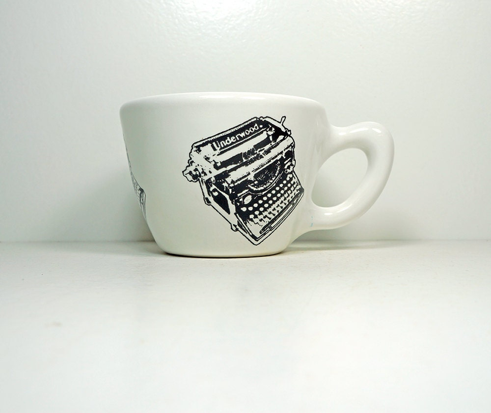 12oz cup with an Underwood typewriter print, on white - Made to Order / Pick Your Colour