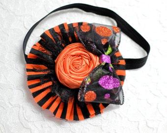 Handmade Halloween Flower Headband - ready to ship - halloween baby headband - black and orange headband