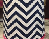 NAVY Chevron Zig Zag Stripe Lamp Shade Kids Decor Hot Pink, Any Color Trim, 4 Sizes