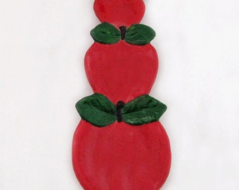 Long Classic Red Apple Ceramic Spoon Rest For Kitchen Counters Cook Tops and Stoves Ruby Red