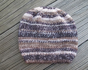 Self-Striping Soft Merino Wool Hand-Knitted Baby Hat (three to six months) OOAK
