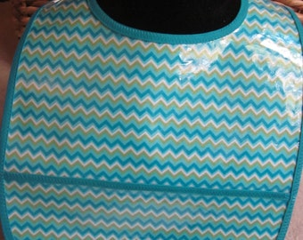 WATERPROOF WIPEABLE Baby to Toddler Wipeable Plastic Coated Bib Teal Chevron Stripes