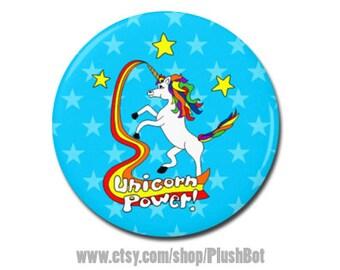 "Unicorn Power 1.25"" or 2.25"" Pinback Pin Button Unicorn Rainbow Gift Unicorn Horn Art Design"