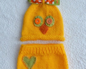 SALE Newborn Owl Outfit Knit BaBY PHoTO PRoP Unisex Bird Hat Diaper Cover SET Yellow Beanie HeART Soaker BoY GiRL Coming Home Costume RTS