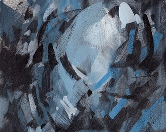 Original Contemporary Abstract Painting Modern Blue Black - 6x6 by David Lloyd