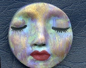 Polymer OOAK Abstract One of a Kind  Face  Cab Round, Detailed ABRD 1