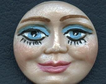 """Polymer Clay Detailed  Blue Eyed  Face Cab 1 1/4""""  ADTMN 2"""