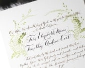 Marriage Certificate, Guestbook alternative, Wedding calligraphy, Watercolor Fern Illustrated