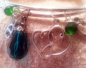 CUSTOM ORDER : Modern charm bracelet - stackable  - Initial charms, green crystal glass