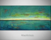 TURQUOISE Art Abstract Expressionist Contemporary Art ORIGINAL Painting - Turquoise Red HORIZON - 48x24 by BenWill
