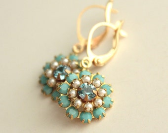 Swarovski Crystal & Glass Pearl Earrings - Aqua and Turquoise Crystal and White Glass Pearls - Brass - Gold Plated Leverback Earwires