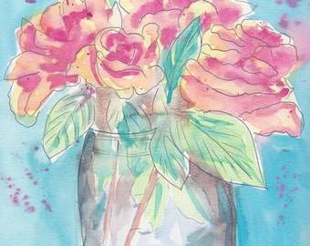 Roses in a Mason Jar Watercolor Pen and Ink