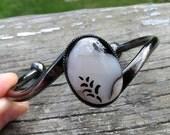 Jewelry Sale Blackened Wave Glass and Gunmetal Bangle Bracelet