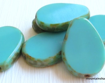 Czech Glass Beads 18mm Picasso Green Turquoise Picasso Beads - 6 (G - 567)