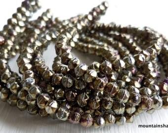 English Cut Beads - 3mm English Cut Nugget Bead Iris Brown 50 (SP - 25)