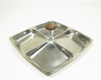 Vintage Stainless Steel Condiment Tray Sweden Square 4 Slots Wooden Handle 7 Inch Retro Mid Century Serving Tray