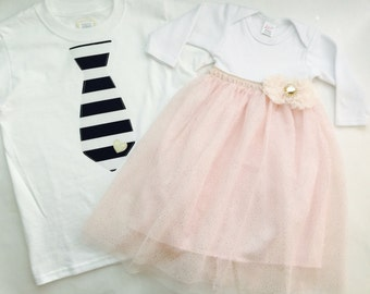 Shabby chic SIBLING set---baby GOWN and Brother tie shirt/onesie...limited edition-- holiday wear