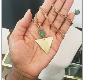 Genuine Sonora Turquoise Brass Arrow Pendant Necklace - geometric Statement - detachable chain Necklace - Choose your chain length
