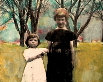 vintage girls sisters with trees original  painting Heather Murray