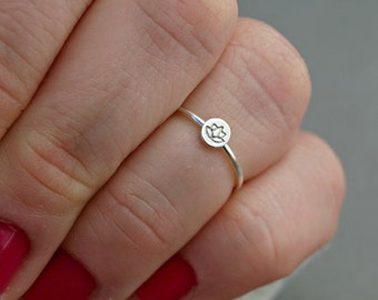 Lotus Ring , Midi Ring Sterling Silver , Knuckle Ring , Yoga Jewelry