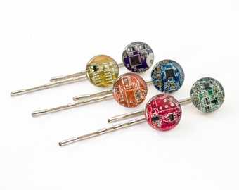 Circuit Board Bobby Pins, Geeky Hair Pin, Nerdy Hair Clip, Software Engineer Gift, Wearable Technology, Nerdy Gift for Her Under 25