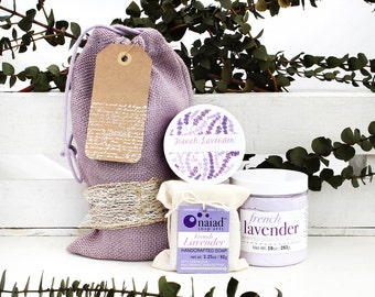 French Lavender Gift Set with eco friendly gift wrap -  Whipped Soap Sugar Scrub, Body Cream and Handmade French Lavender Soap