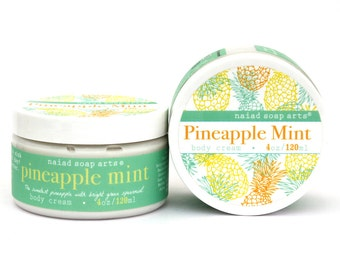 NEW- Pineapple Mint Whipped Shea Butter Body Cream - anti-oxidant rich - Vegan and Cruelty Free - 95% natural