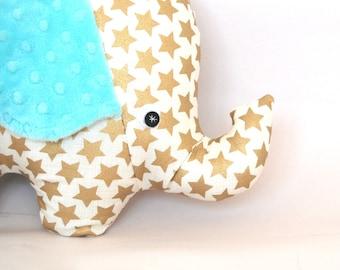 Extra Large Plush Elephant with Minky Ears, Kids Lovey, Stuffed Elephant Toy, Elephant Pillow