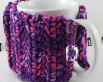 Crocheted Coffee or Ice Cream Cozy with Pocket in Purples and Pinks Translucent Purple Button (SWG-E09)