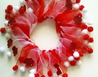 Dog or Cat Tulle Collar/ Red and white puffs with sparkle red animals or blue starsFun neckwear Instagram or Twitter photo shoot prop
