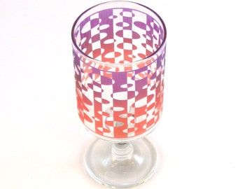 Inverted Ovals - Modern Style Wine Glass - Inlaid Style - Etched and Painted Glassware - Custom Made to Order