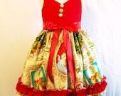 Girls Christmas Dress Red Bodice Ruffled Bottom, Girls Clothing, Handmade Girls Dress, toddler Big Girls Dress, Made in the USA, #263