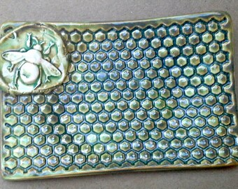 Ceramic Soap Dish  Sponge holder Trinket dish Honey Bee Moss green