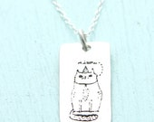 SALE ITALIAN MEOW Cat necklace, Illustration by Gemma Correll, eco-friendly silver pendant. Handcrafted by Chocolate and Ste