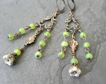Bohemian Earrings, Boho Earrings, Gypsy Earrings, Picasso Czech Bell Flower, Green Czech Glass Beads, Natured Inspired Jewelry,