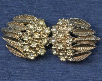 Shabby Flower and Leaves Rhinestone BUCKLE gold tone metal Antiqued Two Pieced with Floral Leaf 2249