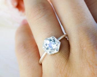 Dainty hexagon ring. 6mm white topaz ring. silver ring. geometric ring.engagement ring. gemstone ring. diamond ring white moonstone