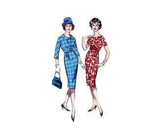 1950s High Waist Sheath Dress Butterick 8900 Vintage Sewing Pattern Size 14 Bust 34 UNCUT